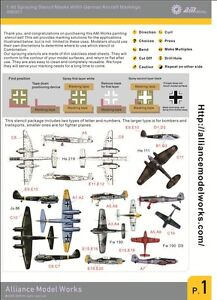 Alliance Model Works 1:48 WWII German Aircraft Markings Stencils, AW001