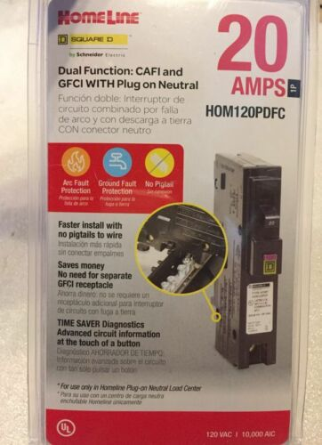 SQUARE D HOMELINE HOM120PDFC 20A DUAL FUNCTION AFCI/GFCI BREAKER NEW IN PACKAGE
