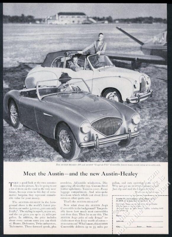 1954 Austin-Healey 100 and A40 convertible car photo vintage print ad
