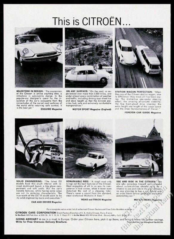 1962 Citroen DS 19 6 car photo This Is Citroen vintage print ad