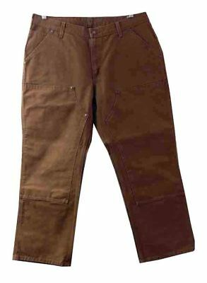 Womens Carhartt Work Dungaree Jeans Double Front Brown Mid Rise Plus 18 X 30 ()