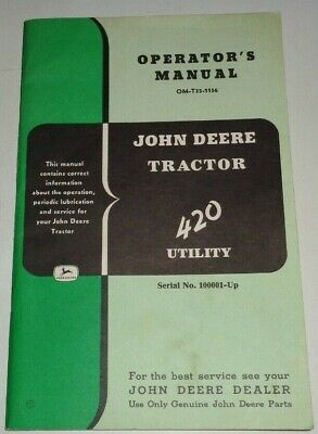 John Deere 430 Utility Tractor Operators Owners Manual Original 1156 Jd