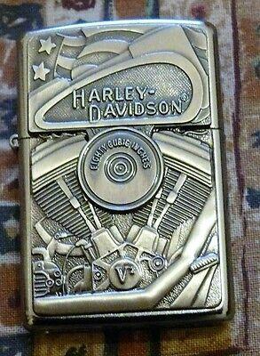 AUTOMOTIVE HARLEY DAVIDSON MOTOR FLAG EMBLEM ZIPPO LIGHTER FREE P&P FREE FLINTS