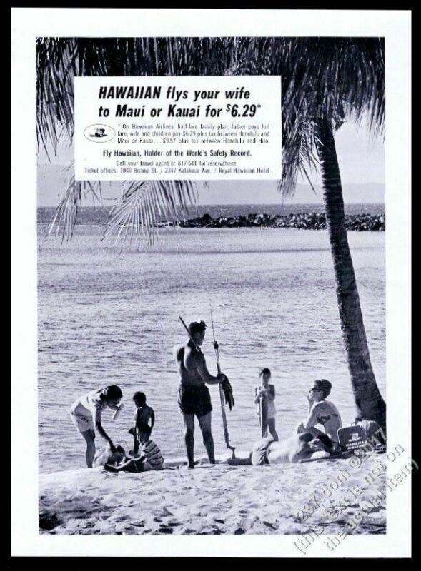 1964 Hawaiian Airlines Hawaii beach family photo vintage print ad
