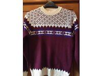 Topman Burgundy & Cream Knitted Jumper