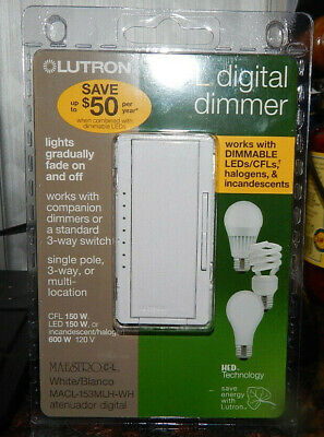 Lutron Maestro CL Digital Dimmer White MACL-153MLH-WH Single Pole or 3 Way Lutron Maestro Single Pole