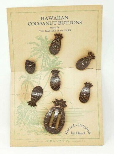 VINTAGE HAWAIIAN Coconut Cocoanut Buttons HAWAII SOUVENIR JOHN A. OYA