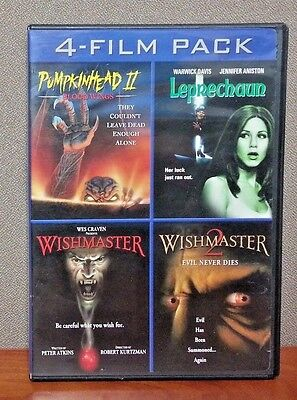 Movies Like Halloween 3 ( Pumpkinhead II, Leprechaun & Wishmaster I & ll    DVD  4 Films 3 Discs LIKE)