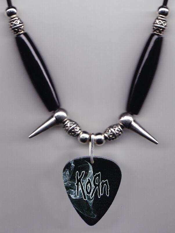 Korn Black Guitar Pick Necklace