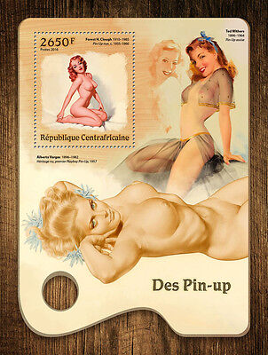 Central African Republic 2016 MNH Pin-Up Girls Art Nude Models 1v S/S Stamps