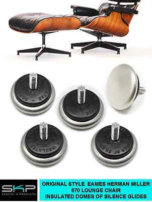 "CUSHIONED ""DOMES OF SILENCE"" GLIDES FOR EAMES/ HERMAN MILLER 670 LOUNGE CHAIR   for sale  Orange"