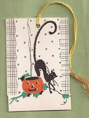 VINTAGE 1940's Gibson HALLOWEEN Party Tally Card with Black Cat, JOL