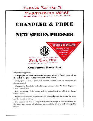 Chandler Price Cp Press Replacement Parts New Series Press Oiling Chart