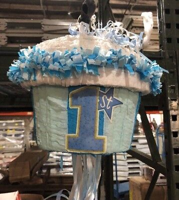 YA Otta 1st Birthday Blue Cupcake Piñata Pull strings Party Game Decoration NEW