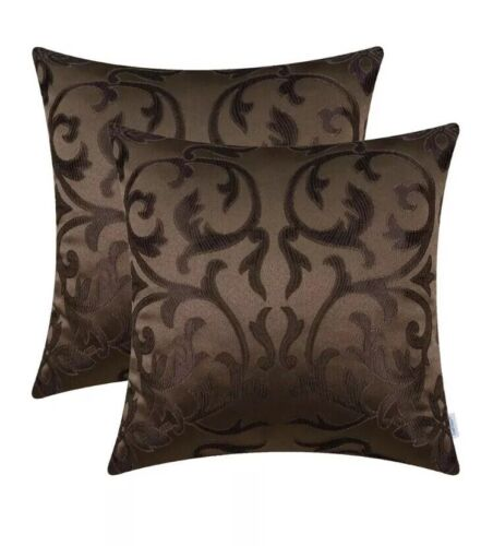 2Pcs Calitime Coffee Pillows Shell Cushion Covers Jacquard H