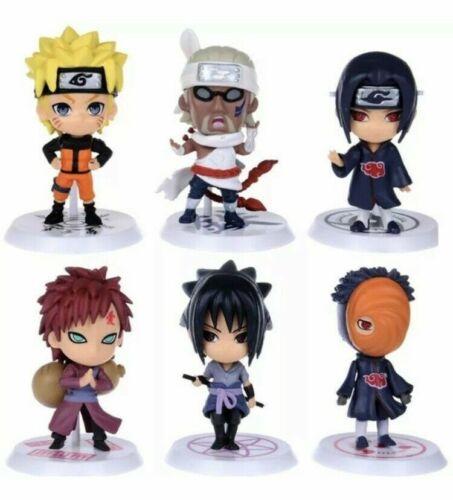 6x Naruto Cute Mini Action Figures Cake Toppers Set: Naruto Itachi Sasuke Gaara