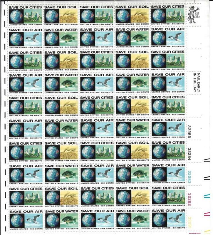 US SCOTT 1410 - 13 PANE OF 50 SAVE OUR SOIL STAMPS 6 CENT FACE MNH