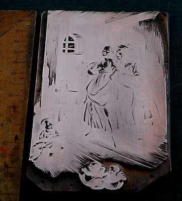 FAMILIENSZENE Galvano Druckstock Kupferklischee Druckplatte Eichenberg printer