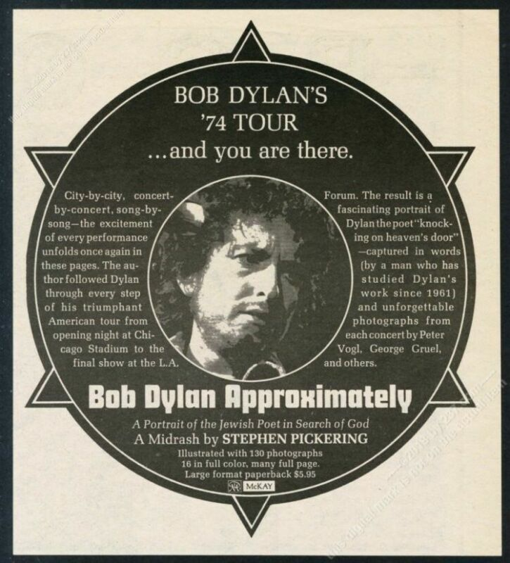 1975 Bob Dylan photo Approximately book release vintage print ad
