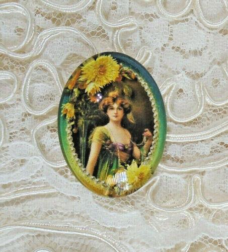 Victorian Lady 30X40mm Glitter Unset Handmade Glass Art Bubble Cameo Cabochon
