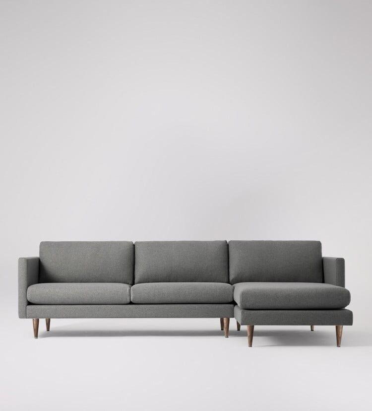 Brand New Swoon Tivoli Mid Century Modern Grey Right Hand Corner