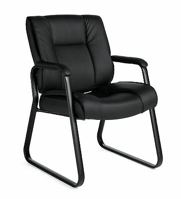 Black Leather Guest Office Desk Side Chair