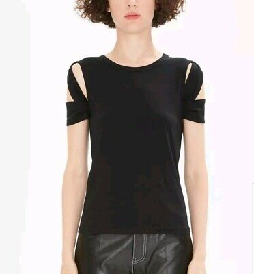 Helmut Lang Black Cut Out Short Sleeve Bondage Tee Top Womens Size Small