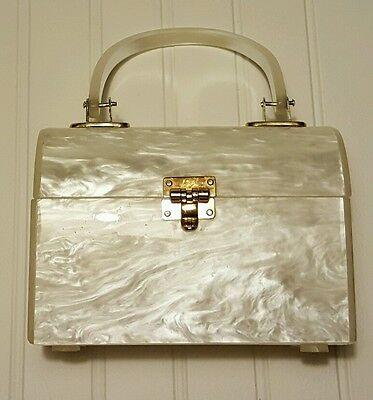 Vintage White Pearl Lucite Purse Handbag Bag Clutch Gold hard case box