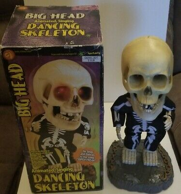 "2001 Gemmy 16"" Big Head Singing Dancing Skeleton Animated ""Super Freak"" Works!"