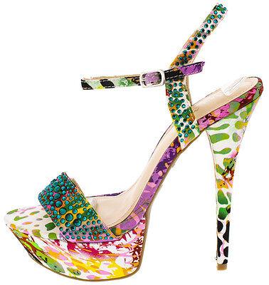High Heel Open Platform (Colorful Flower Rhinestone Open Toe Stiletto High Heel Platform Prom Shoes H95 )