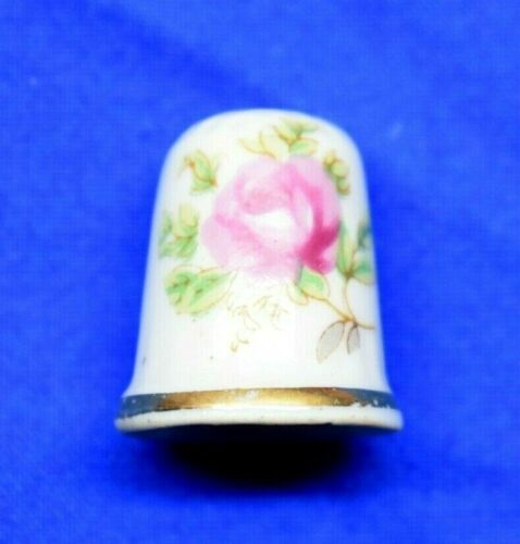 Porcelain Sewing Thimble Painted Rose Flower with Gold Wrap Around Band Hand Sew