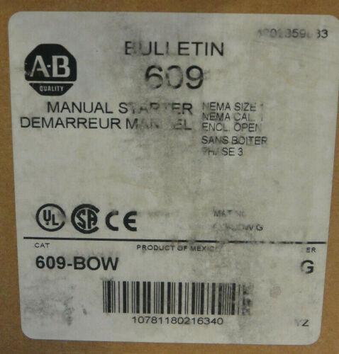 Allen-Bradley 609-BOW Ser. G Manual Motor Starter Nema Size 1 *NEW