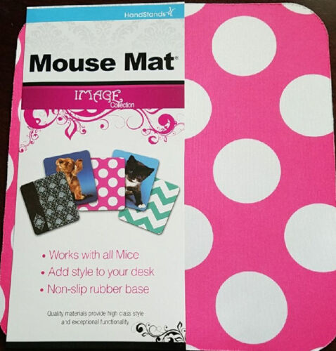 White Dot with Pink Background Mouse Pad Polka Dot Mousepad