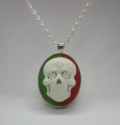 Green & Red Suger Skull Cameo Pendant Necklace With 20