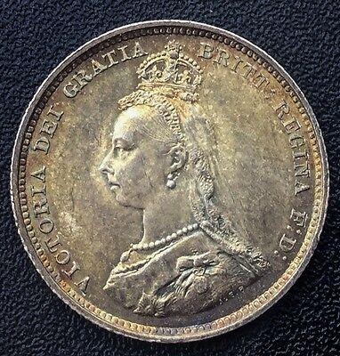 GREAT BRITAIN 1887 JUBILEE  QUEEN VICTORIA  SHILLING SUPER EYE APPEAL TONER