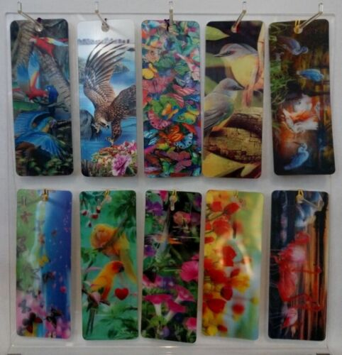 3 D Realistic Lenticular Bookmarks with Tassel Birds and Flowers 10 Pack