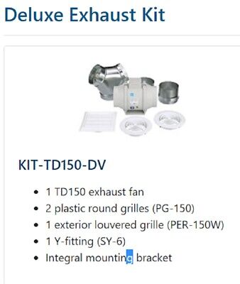 New Solerpalau Kit-td150-dv White Mixvent Dual-vent In-line Exhaust Fan Kit