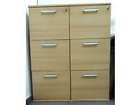 2 triple drawer locking wooden filing cabinets in good condition