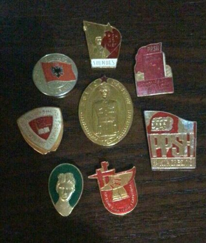 Pin Albania ,   8 pcs Rare type  1950 - 1990 .