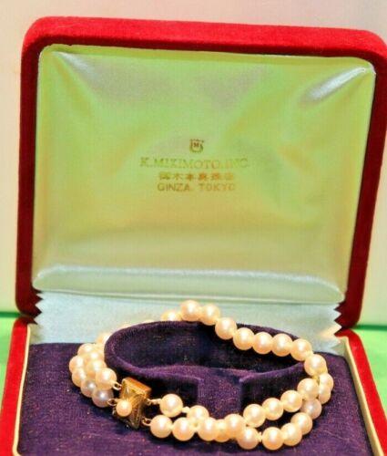 Vintage 14k Mikimoto 6 mm Double Row Pearl Bracelet Original Box