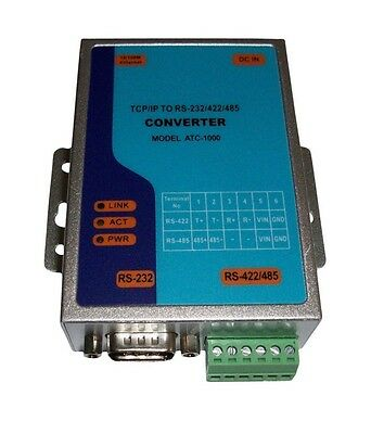 TCP/IP Ethernet RJ45 to Serial RS232 RS485 RS422 Converter Adapter Adaptor
