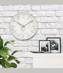 Marble Pattern Clock Brushed Nickel Finish Brand New Electronic Battery operated