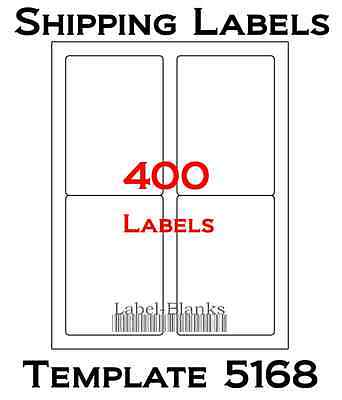 400 Laser Ink Jet Labels 3.5 X 5 Shipping Compatible With Size 5168. 100