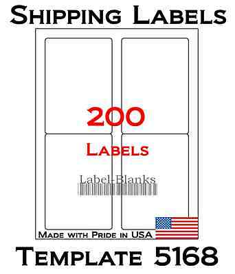 200 Laser Ink Jet Labels 3.5 X 5 Shipping Compatible With Size 5168. 50