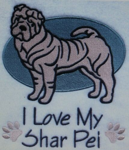Love My Shar Pei Dog Embroidered Personalized Tee Shirt ALL SIZES