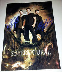 SUPERNATURAL CAST X3 PP SIGNED POSTER 12