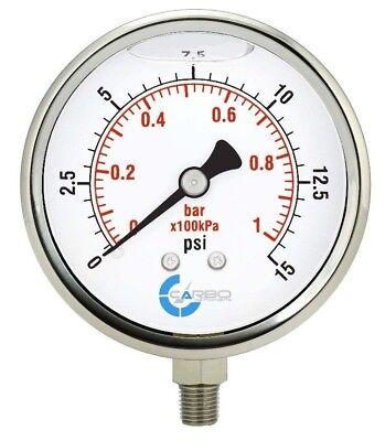 4 Pressure Gauge Stainless Steel Case Liquid Filled Lower Mnt 15 Psi