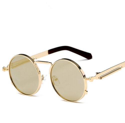 Men Sunglasses Gothic Steampunk Coating Mirrored Round Circl
