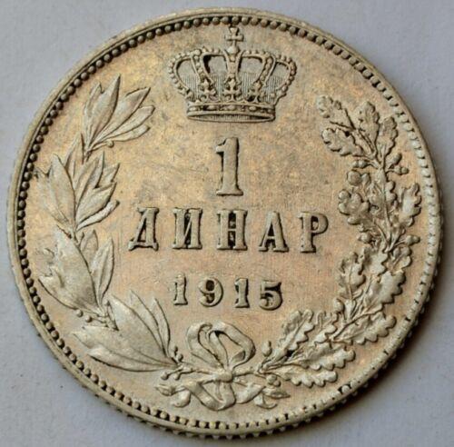 Serbia, 1 Dinara 1915, King Petar I, Yugoslavia, silver coin