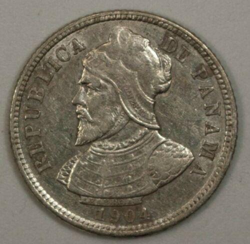 Panama  10  Centesimos  1904 AU Silver